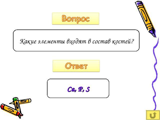 Какие элементы входят в состав костей? Сa, P, S