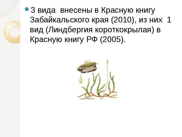 3 вида внесены в Красную книгу Забайкальского края (2010), из них 1 вид (Л...
