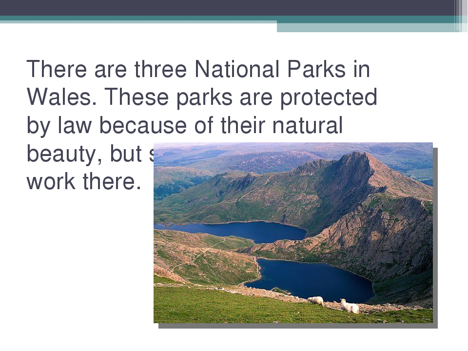 There are three National Parks in Wales. These parks are protected by law bec...