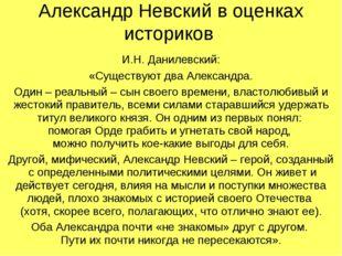 Александр Невский в оценках историков И.Н. Данилевский: «Существуют два Алекс