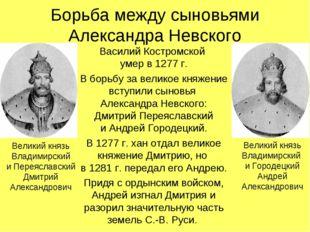 Борьба между сыновьями Александра Невского Василий Костромской умер в 1277 г.