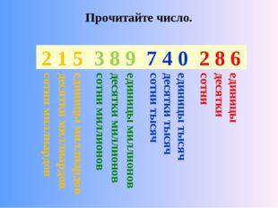 2 8 6 7 4 0 3 8 9 2 1 5 Прочитайте число. единицы сотни десятки единицы тысяч