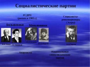 Социалистические партии РСДРП (раскол в 1903 г.) Большевики Меньшевики В.И.