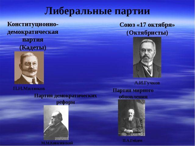 Либеральные партии Конституционно- демократическая партия (Кадеты) Союз «17...