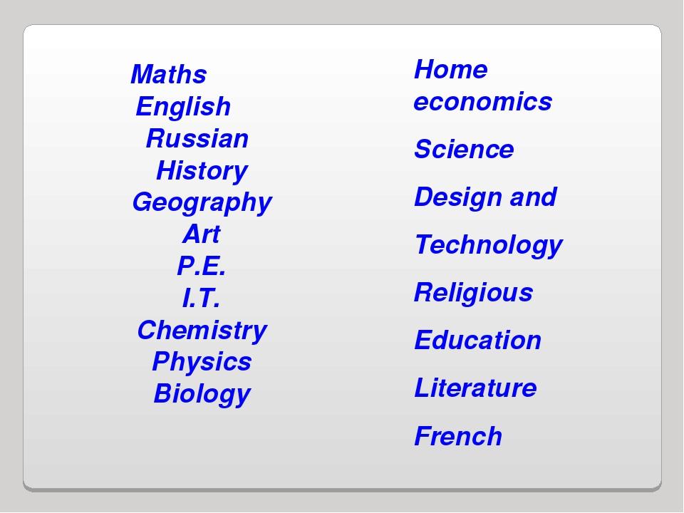 Maths English Russian History Geography Art P.E. I.T. Chemistry Physics Biolo...