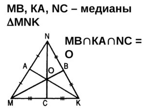 МВ, КА, NC – медианы MNK МВКАNC = О