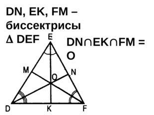 DN, EK, FM – биссектрисы  DEF DNEKFM = О