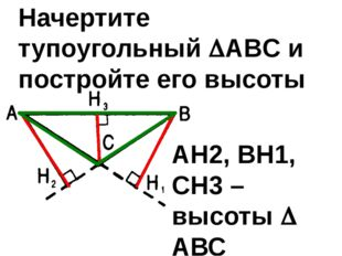 Начертите тупоугольный ABC и постройте его высоты АН2, ВН1, СН3 – высоты  АВС