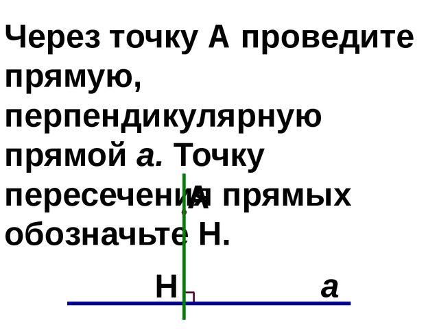 Через точку А проведите прямую, перпендикулярную прямой а. Точку пересечения...