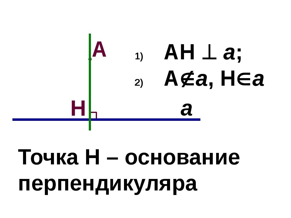 АН  а; Аа, На Точка Н – основание перпендикуляра а А Н