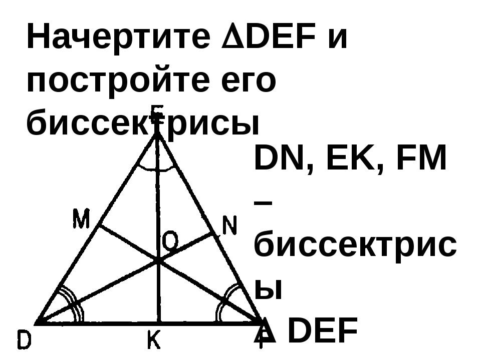 Начертите DEF и постройте его биссектрисы DN, EK, FM – биссектрисы  DEF