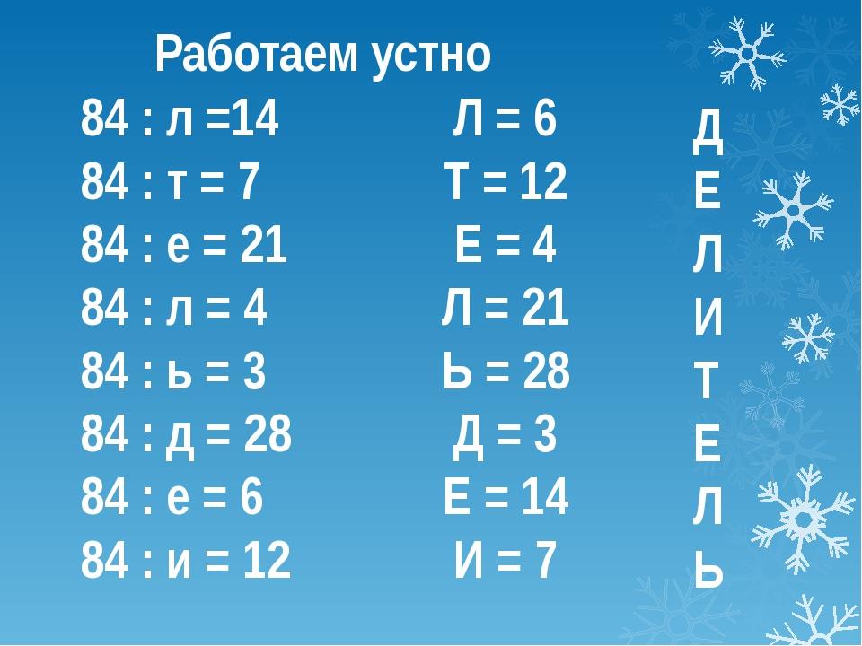 84 : л =14 84 : т = 7 84 : е = 21 84 : л = 4 84 : ь = 3 84 : д = 28 84 : е =...