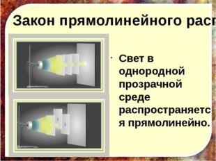 Закон прямолинейного распространения света. Свет в однородной прозрачной сред