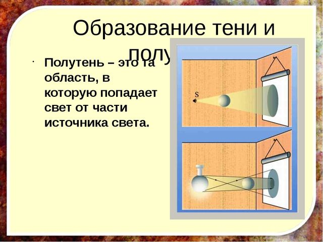 Образование тени и полутени Полутень – это та область, в которую попадает све...