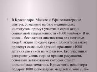В Краснодаре, Москве и Уфе волонтерские центры, созданные на базе медицински