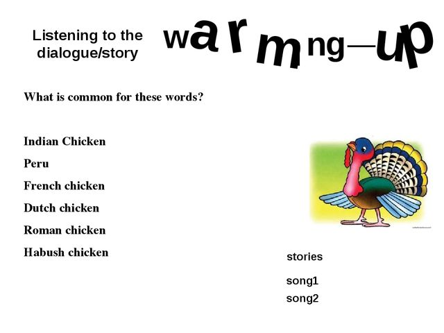 w a r m I n g _ u p What is common for these words? Indian Chicken Peru Frenc...
