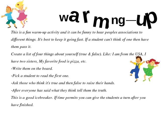 This is a fun warm-up activity and it can be funny to hear peoples associatio...