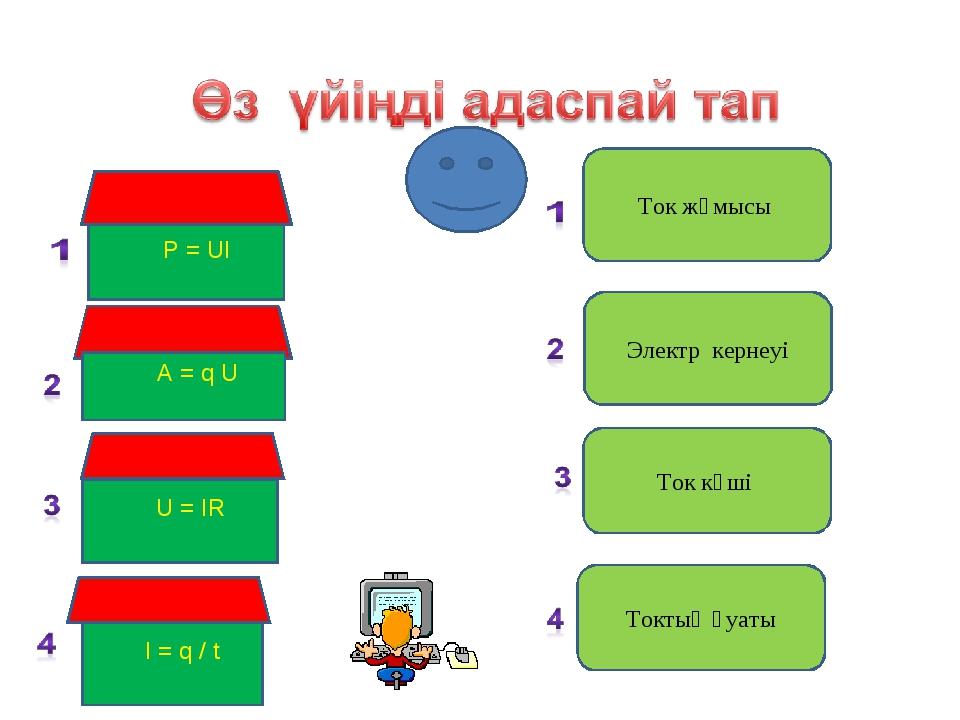 P = UI A = q U U = IR Ток жұмысы Электр кернеуі Ток күші I = q / t Токтың қу...