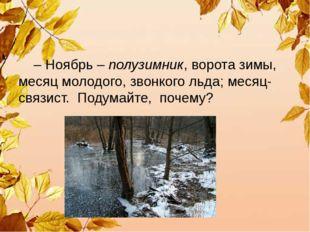 – Ноябрь – полузимник, ворота зимы, месяц молодого, звонкого льда; месяц-свя