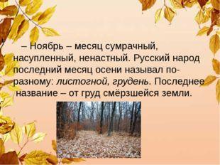 – Ноябрь – месяц сумрачный, насупленный, ненастный. Русский народ последний