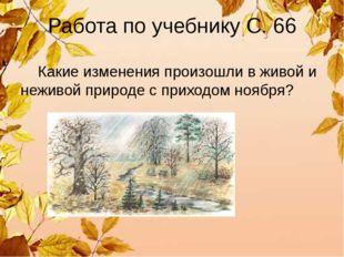 Работа по учебнику С. 66 Какие изменения произошли в живой и неживой природе
