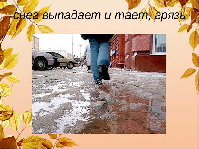 снег выпадает и тает, грязь