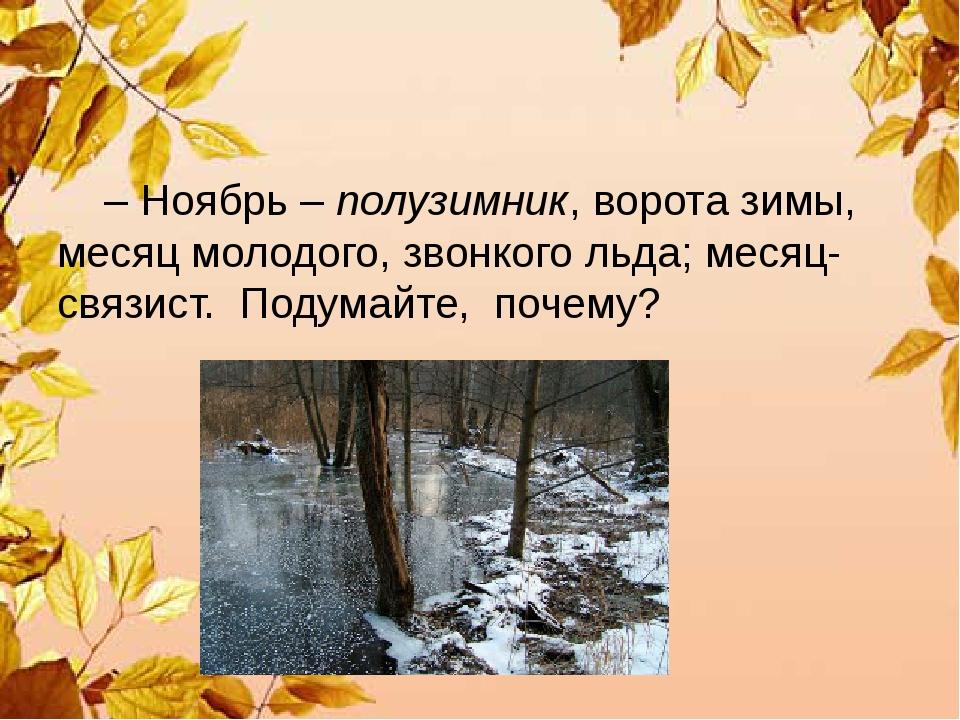 – Ноябрь – полузимник, ворота зимы, месяц молодого, звонкого льда; месяц-свя...