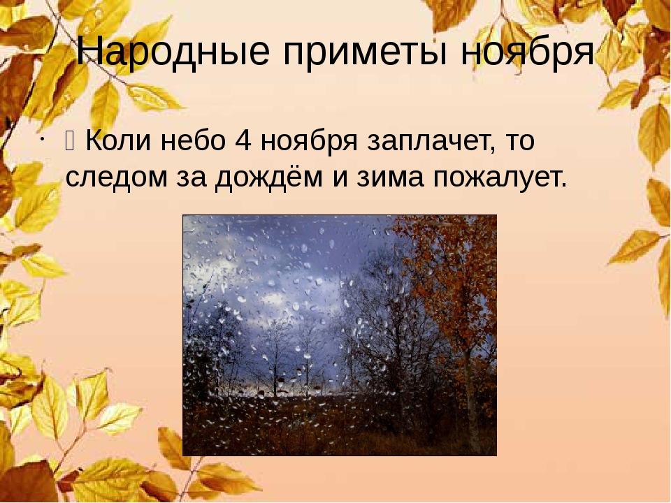 Народные приметы ноября Ÿ Коли небо 4 ноября заплачет, то следом за дождём и...