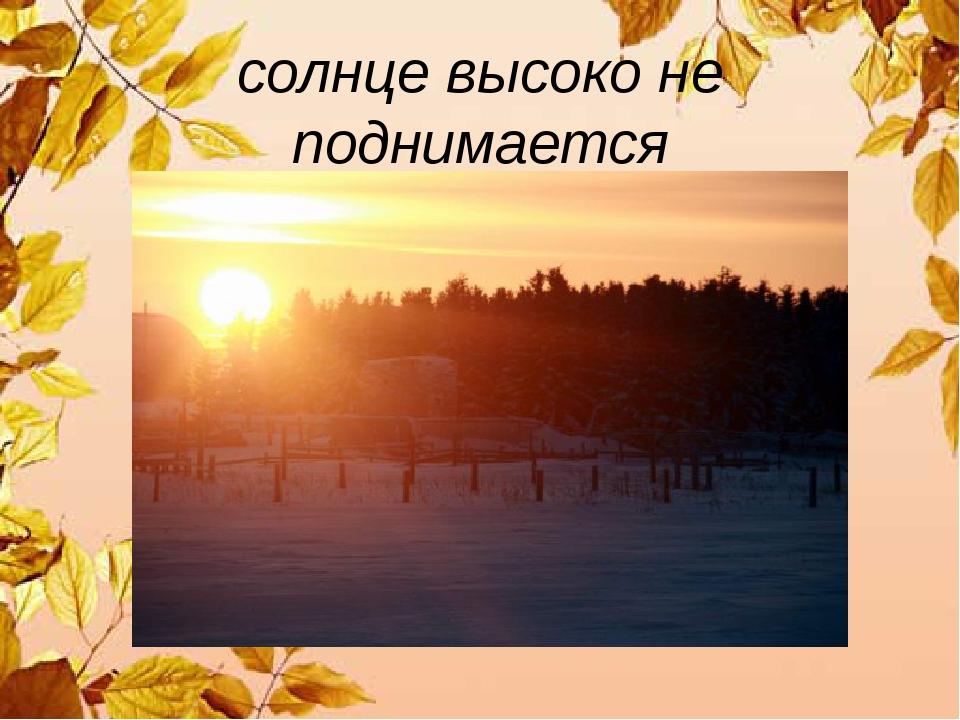 солнце высоко не поднимается