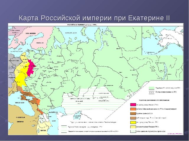 Карта Российской империи при Екатерине II