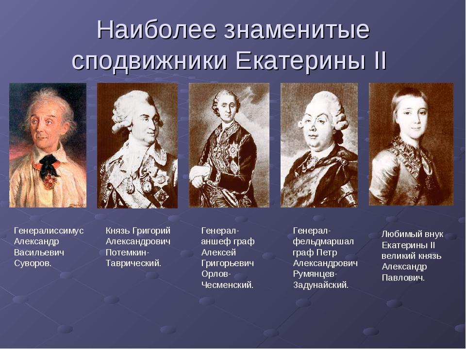 Наиболее знаменитые сподвижники Екатерины II Генералиссимус Александр Василье...