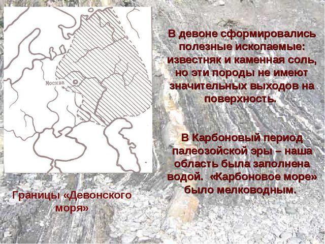 Границы «Девонского моря» В девоне сформировались полезные ископаемые: изве...