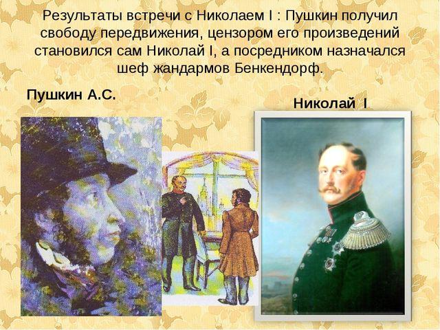 Результаты встречи с Николаем I : Пушкин получил свободу передвижения, цензор...