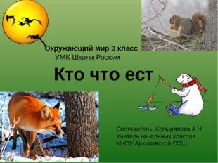 Кто что ест Окружающий мир 3 класс УМК Школа России Составитель: Копырялова А