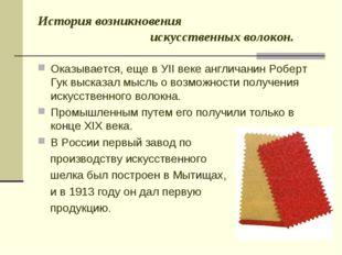 История возникновения искусственных волокон. Оказывается, еще в УII веке англ