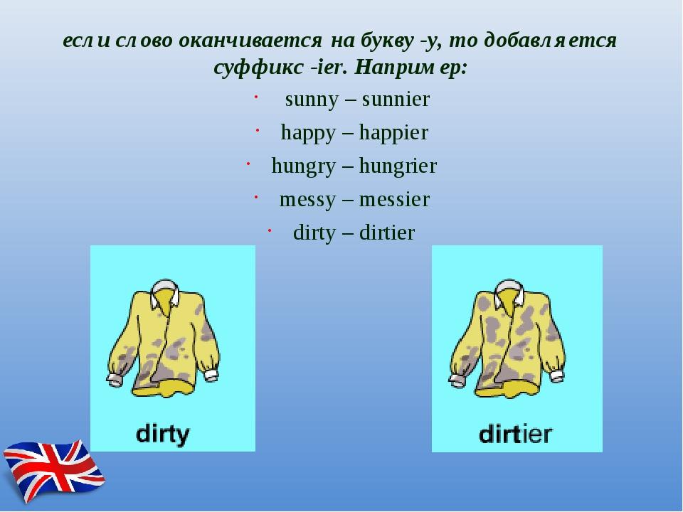 если словооканчивается на букву -y, то добавляется суффикс-ier.Например: s...