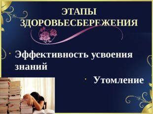 ЭТАПЫ ЗДОРОВЬЕСБЕРЕЖЕНИЯ Эффективность усвоения знаний Утомление