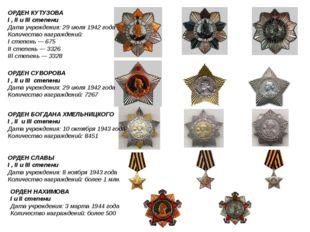 ОРДЕН КУТУЗОВА I, II и III степени Дата учреждения: 29июля 1942 года Количе