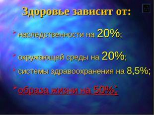 Здоровье зависит от: наследственности на 20%; окружающей среды на 20%; систем