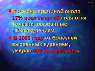 В России причиной около 17% всех смертей являются болезни, вызванные табакоку