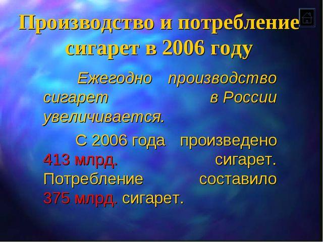Производство и потребление сигарет в 2006 году Ежегодно производство сигарет...