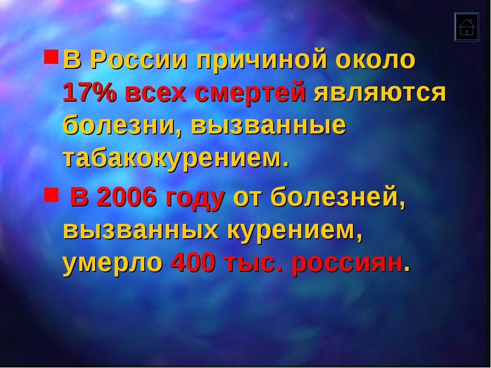 В России причиной около 17% всех смертей являются болезни, вызванные табакоку...