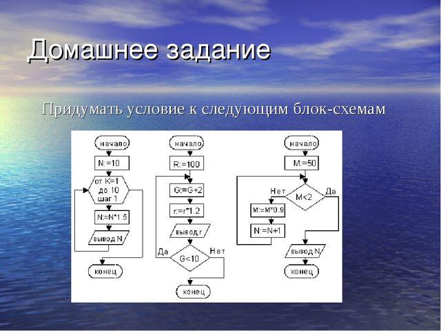 Домашнее задание Придумать условие к следующим блок-схемам