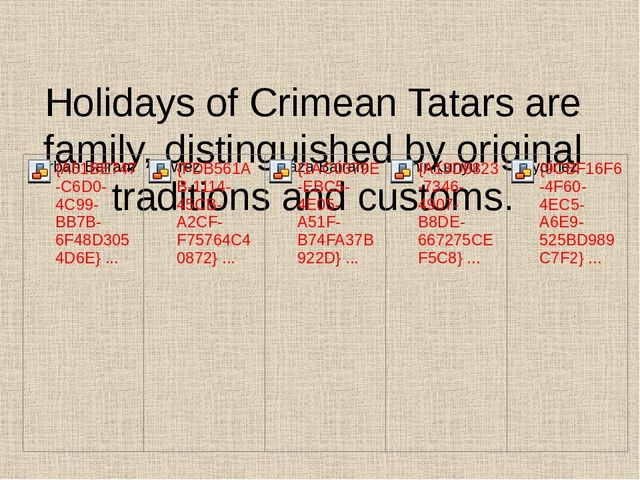 Holidays of Crimean Tatars are family, distinguished by original traditions a...
