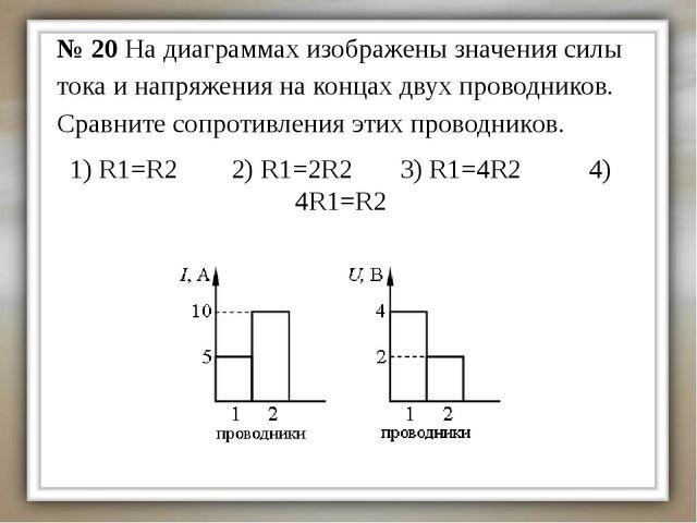 1) R1=R2 2) R1=2R2 3) R1=4R2 4) 4R1=R2 № 20 На диаграммах изображены значения...
