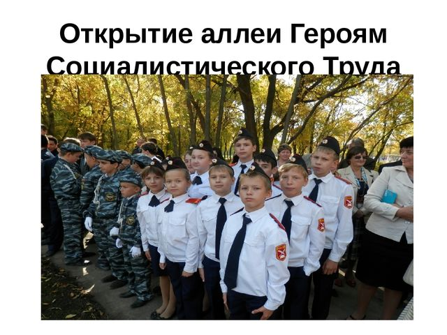 Открытие аллеи Героям Социалистического Труда