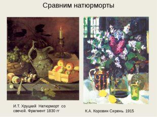 Сравним натюрморты И.Т. Хруцкий Натюрморт со свечой. Фрагмент 1830 гг К.А. Ко