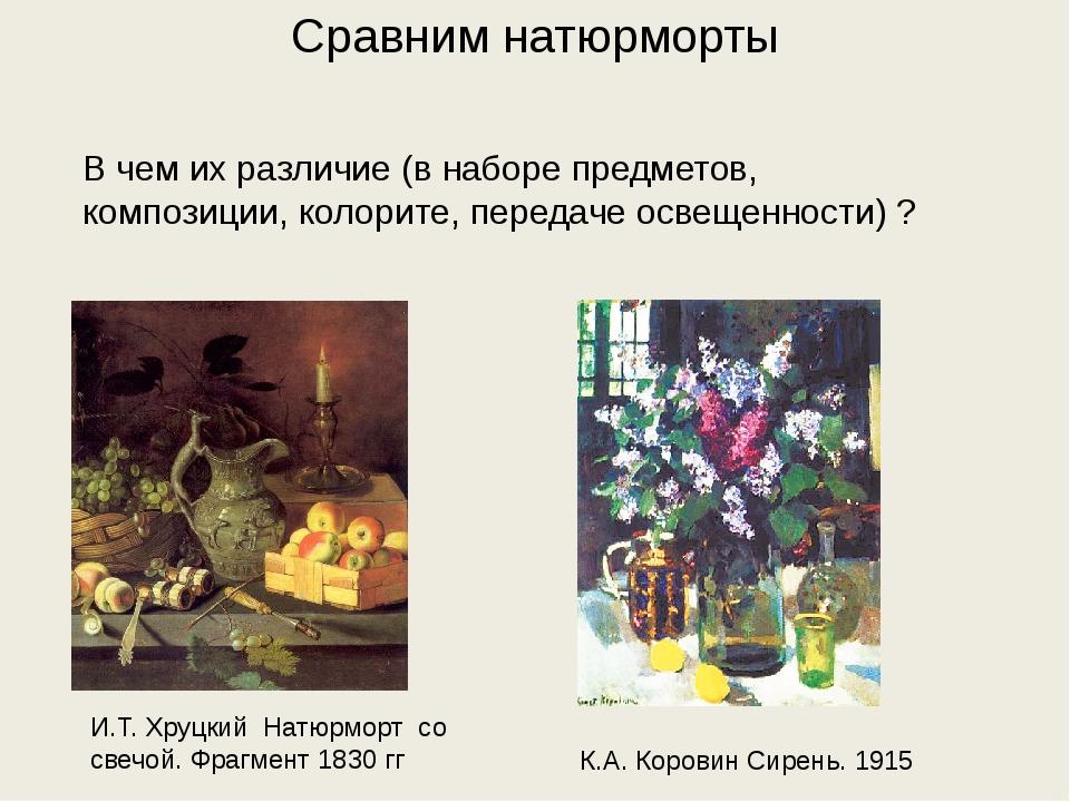 Сравним натюрморты И.Т. Хруцкий Натюрморт со свечой. Фрагмент 1830 гг К.А. Ко...