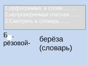 Б…рёзовой- берёза (словарь) 1.орфограмма в слове …… 2.непроверяемая гласная……