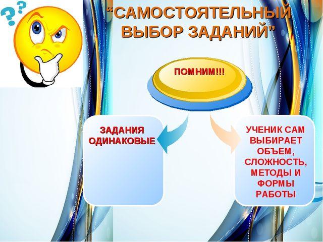 """""""САМОСТОЯТЕЛЬНЫЙ ВЫБОР ЗАДАНИЙ"""""""
